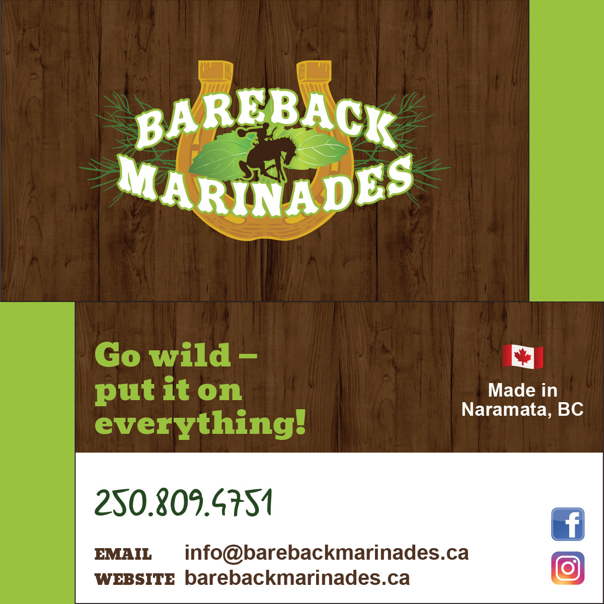 Bareback Marinades business card