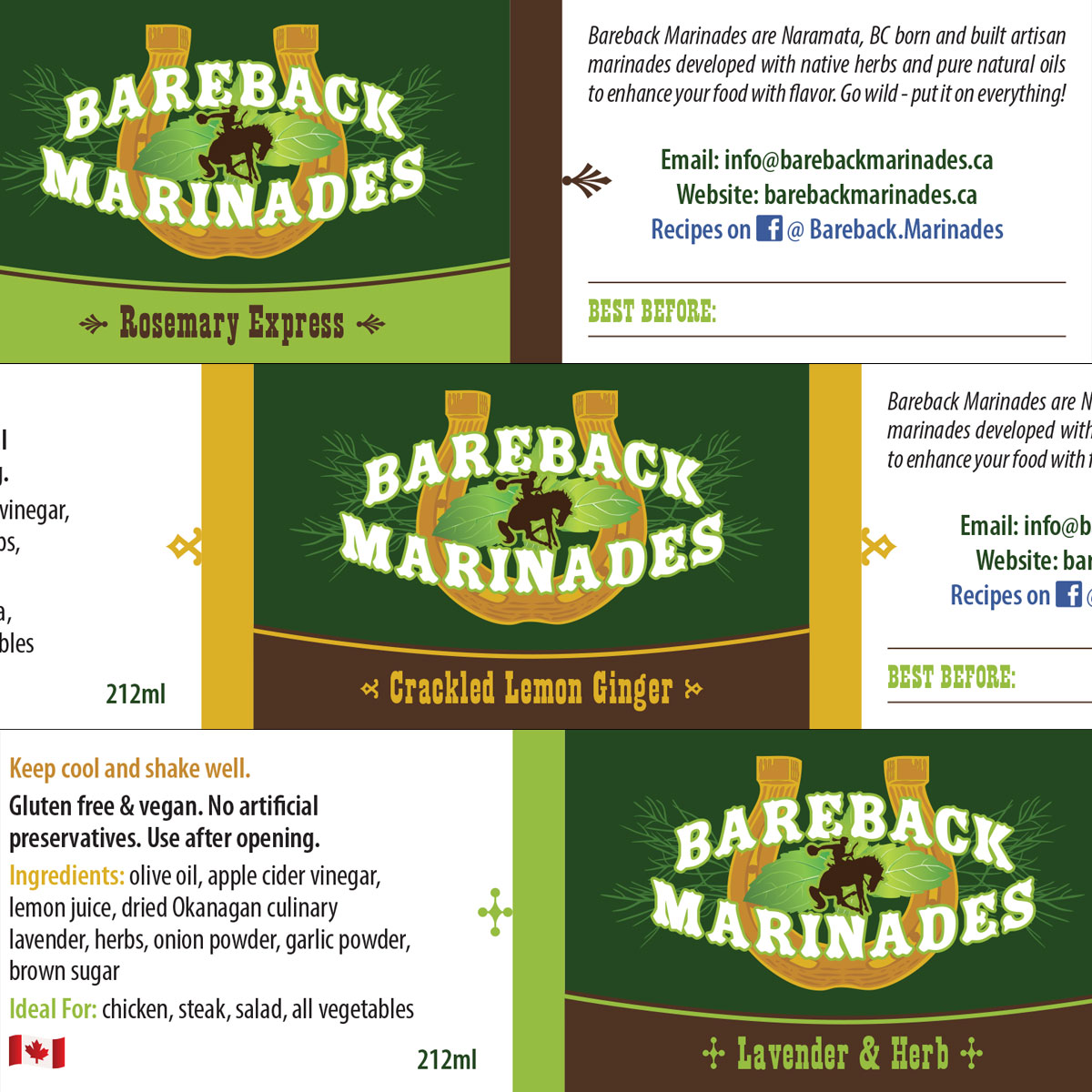 Bareback Marinades labels