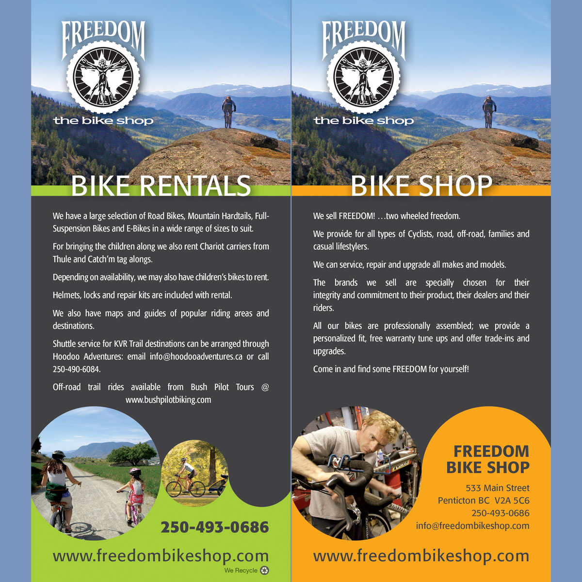 Freedom Bike Shop rack card