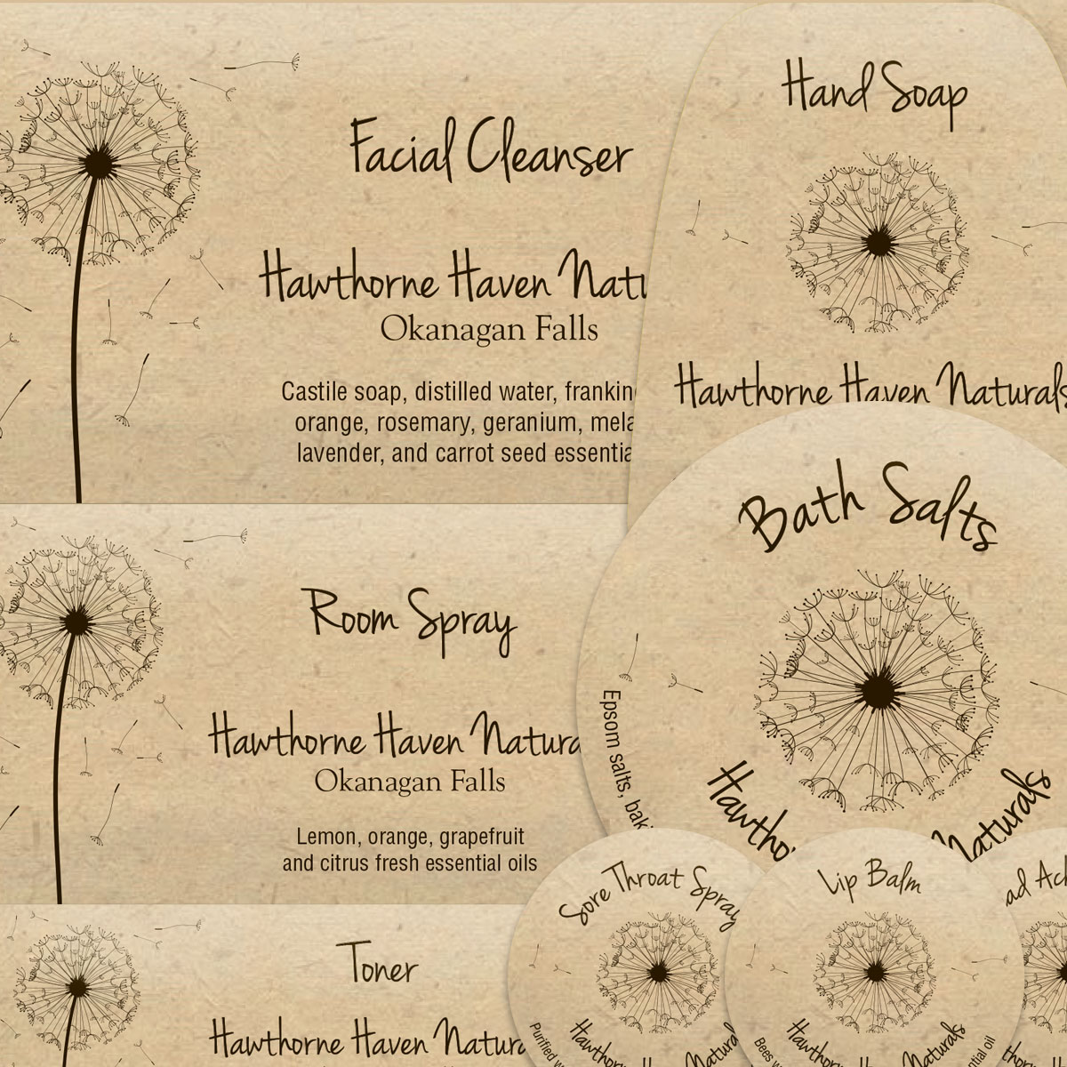Hawthorne Haven Naturals labels