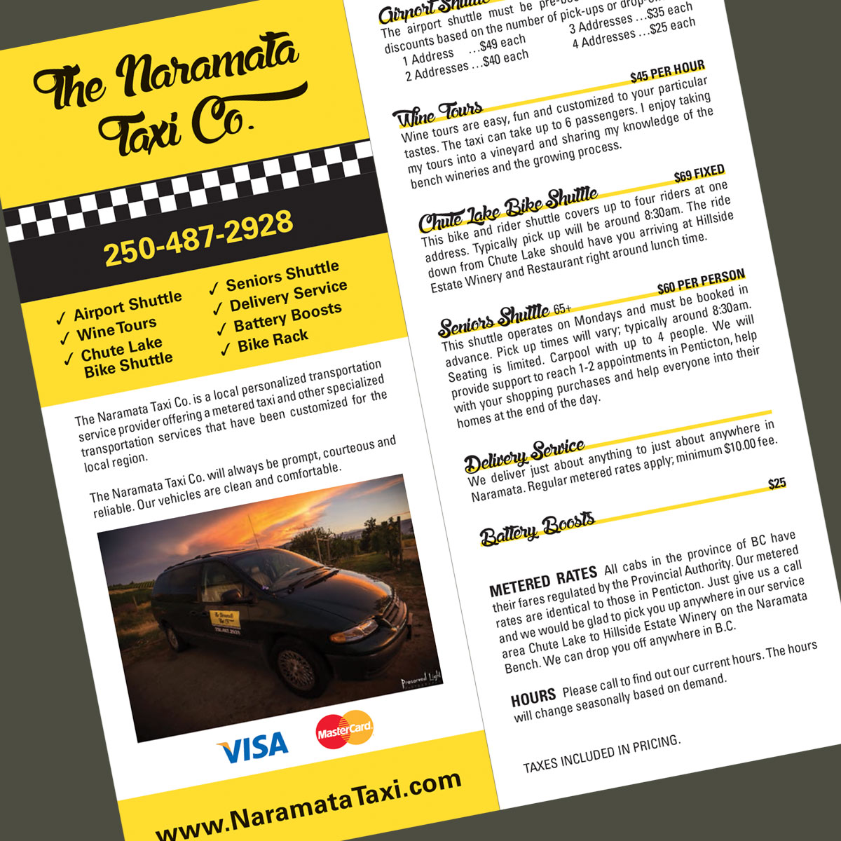 Naramata Taxi rack card